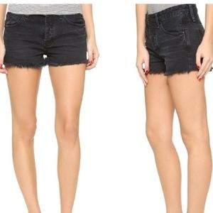 Free People Uptown Black distressed cut off shorts
